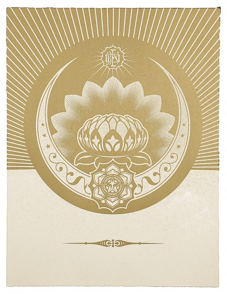 Shepard Fairey, Obey Lotus Crescent (White & Gold), 2013