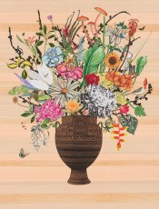 Greek Vase with Christmas Cactus Heliconia and Fuschia