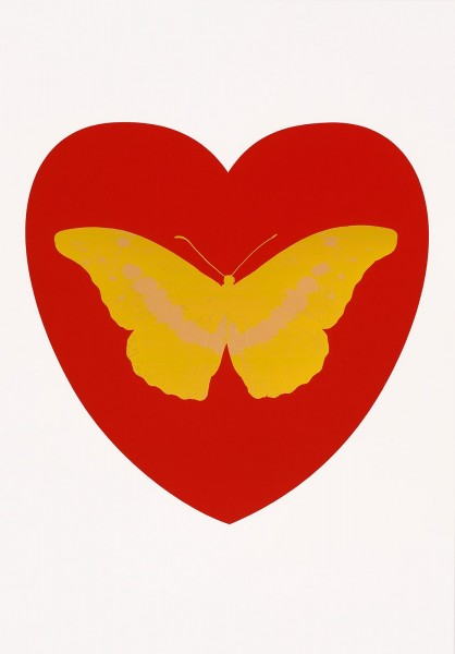 Damien Hirst, I Love You - red, oriental gold, cool gold, 2015