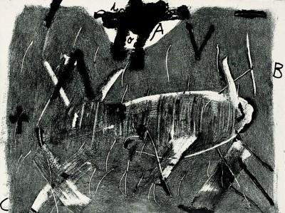 Lletres i gris by Antoni Tàpies