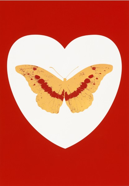 Damien Hirst, I Love You - white, red, cool gold, poppy red, 2015
