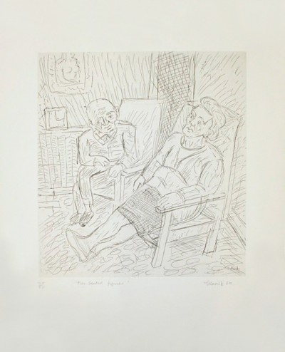 Two Seated Figures by Leon Kossoff