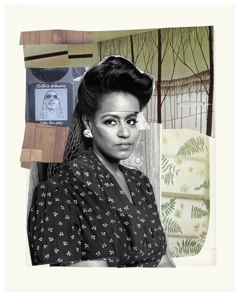 Mickalene Thomas, Clarivel with Black Blouse with White Ribbon, 2016