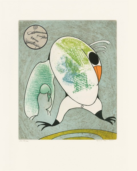 """Max Ernst, Devant mon aile droite couve le morne militaire, from """"Oiseaux en péril"""", 1975"""