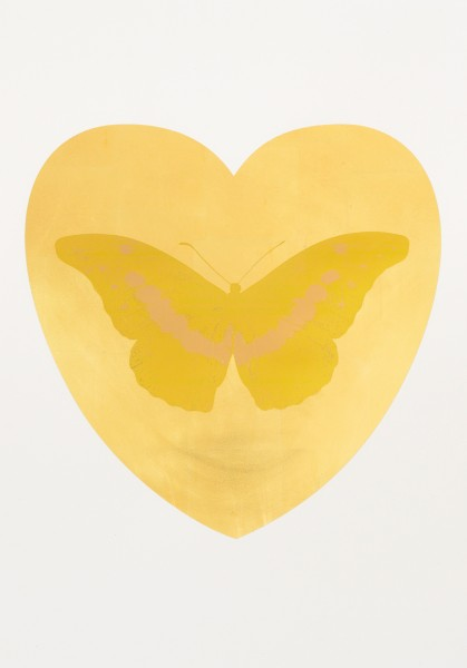 Damien Hirst, I Love You - gold leaf, oriental gold, cool gold, 2015