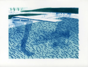 Lithograph of Water Made of Lines with Two Light Blue Washes