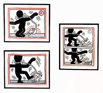 Free South Africa #1 #2 #3 by Keith Haring