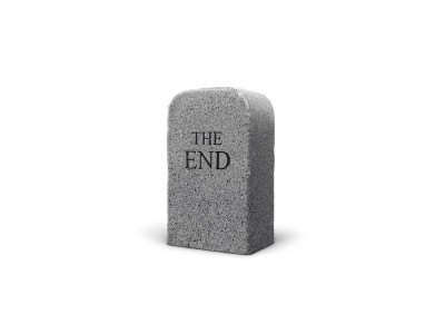 The End (granite) by Maurizio Cattelan