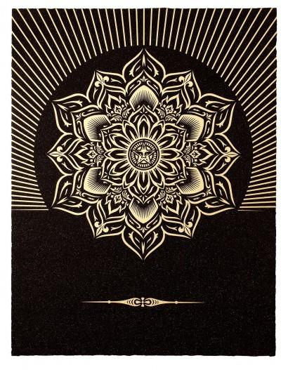 Shepard Fairey-Obey Lotus Diamond (Black & Gold)