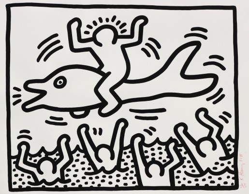 Keith Haring, Untitled (Man On A Dolphin), 1987