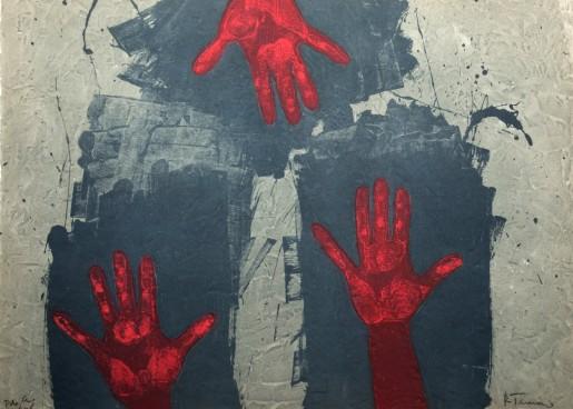 Rufino Tamayo, Manos Sobre Fondo Azul, 1979