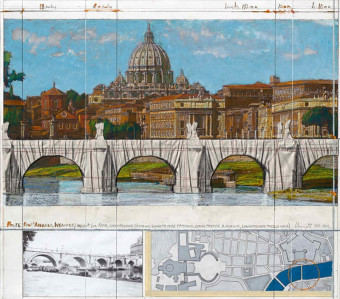 Ponte Sant Angelo wrapped (project for Rome) by Christo