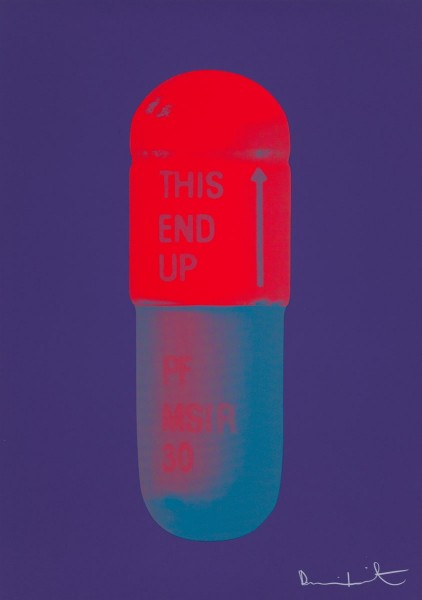 Damien Hirst, The Cure - Violet/Electric Red/Powder Blue, 2014