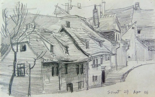 Lyonel Feininger, Strasse in oder um Weimar (Street in or near Weimar), 1906
