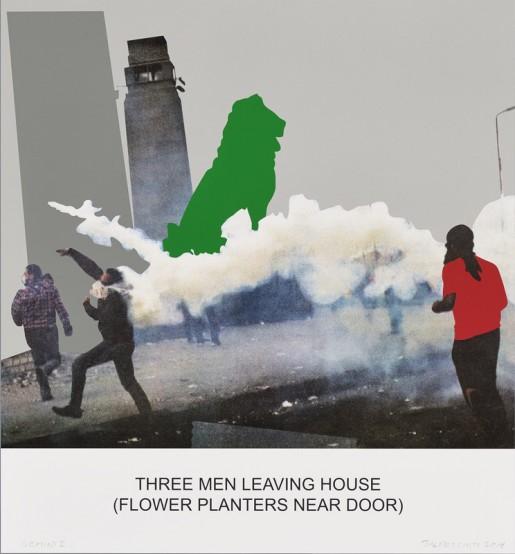 John Baldessari, The News: Three Men Leaving House..., 2014