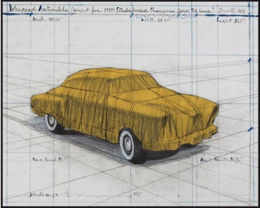 Christo, Wrapped Automobile (Project for 1950 Studebaker Champion, Series 9 G Coupe), 2015