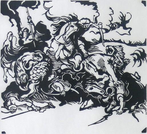 Franz Marc, Löwenjagd nach Delacroix, 1913/1984