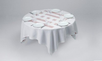 Daniel Buren, Unique Tablecloth with Laser-Cut Lace, 2002