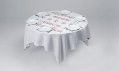 Unique Tablecloth with Laser-Cut Lace by Daniel Buren