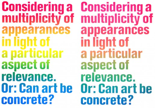 Olaf Nicolai, Considering a Multiplicity of Appearances in Light of a particular Aspect of Relevance, Or: Can Art be concrete?, 2008