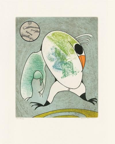 """Devant mon aile droite couve le morne militaire, from """"Oiseaux en péril"""" by Max Ernst"""