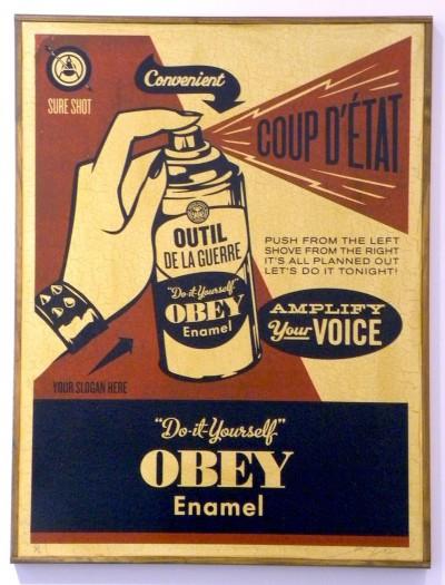 Shepard Fairey-Obey Coup D'Etat (on wood)