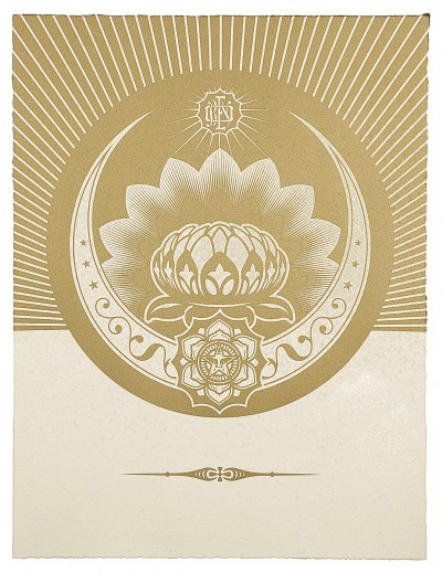 Shepard Fairey-Obey Lotus Crescent (White & Gold)