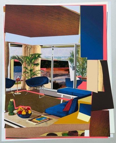 Interior: Blue Couch and Green Owl by Mickalene Thomas