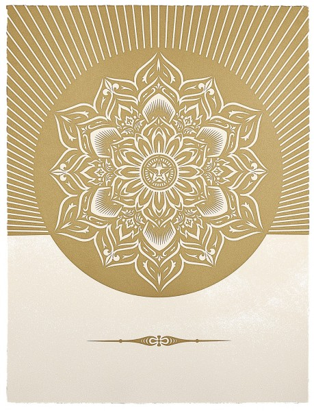 Shepard Fairey, Obey Lotus Diamond (White & Gold), 2013