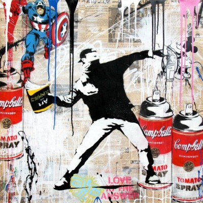 Mr. Brainwash - Banksy Thrower (with Captain America)