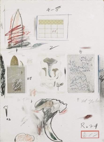 Cy Twombly, Natural History, Part I: Mushrooms, no. VI, 1974