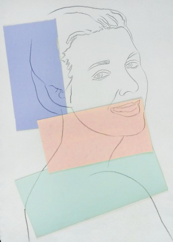 Presumed Portrait of Antoine Grunn (Female Portrait) with blue, pink and green by Andy Warhol