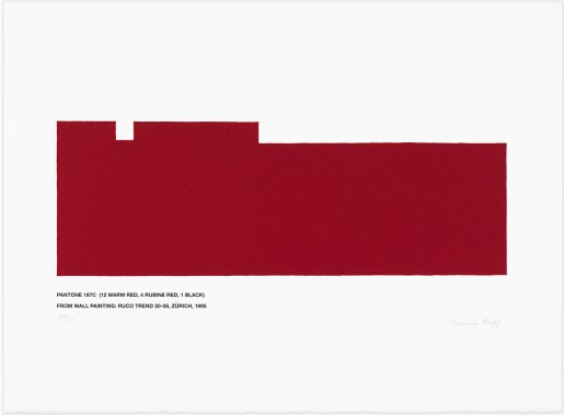 Marcia Hafif, Pantone 187C (12 Warm Red, 4 Rubine Red, 1 Black), 1995