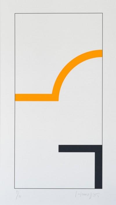 Sans Titre (Noir/Orange) by Gottfried Honegger