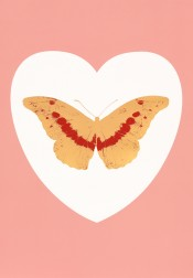 I Love You - white, pink, cool gold, poppy red