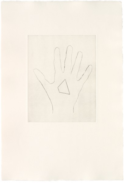 Jonathan Monk, My Left Hand Holding a Piece of Triangular Shaped Paper with the Bottom Left Hand Corner Removed / with the Top Corner Removed / with the Bottom Right Hand Corner Removed, 2008
