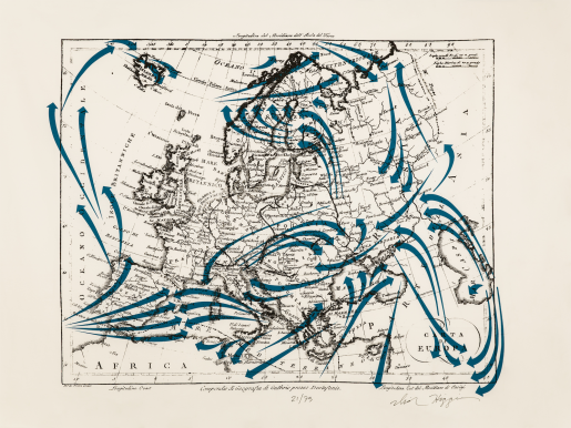 Dick Higgins, Europe - War (Blue), 1988