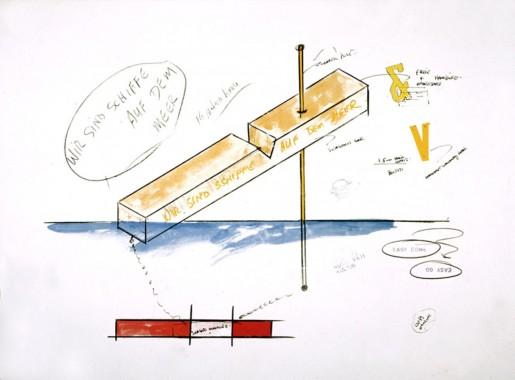 Lawrence Weiner, Wir sind keine Enten auf dem Teich, Wir sind Schiffe auf dem Meer (Sculpture for Hamburg Project), 1990