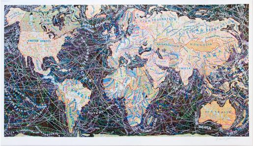 Paula Scher, World Trade Routes, 2018