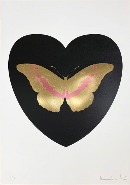 Damien Hirst, I Love You - Black/Cool Gold/Loganberry, 2015