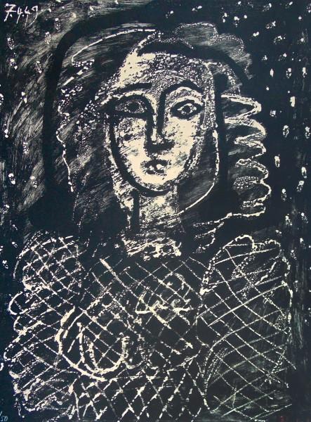Pablo Picasso, Bust on a Starry Background | Buste au fond étoilé, 1956