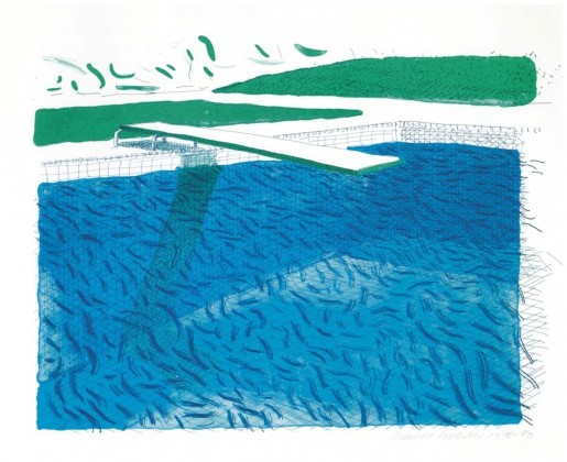 David Hockney, Lithographic Water Made of Lines, Crayon, and Two Blue Washes, 1978/1980