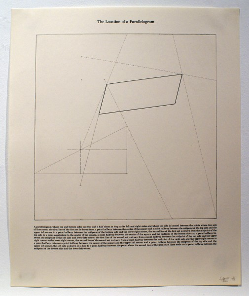 Sol LeWitt, The Location of a Parallelogram, 1975