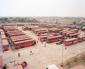 New public buses of LAGBUS Ltd at Ojota Bus Terminal, Lagos, Nigeria