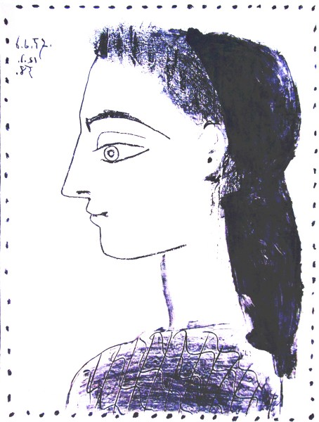 Pablo Picasso, Jacqueline with Black Handkerchief | Jaqueline au Mouchoir Noir, 1958