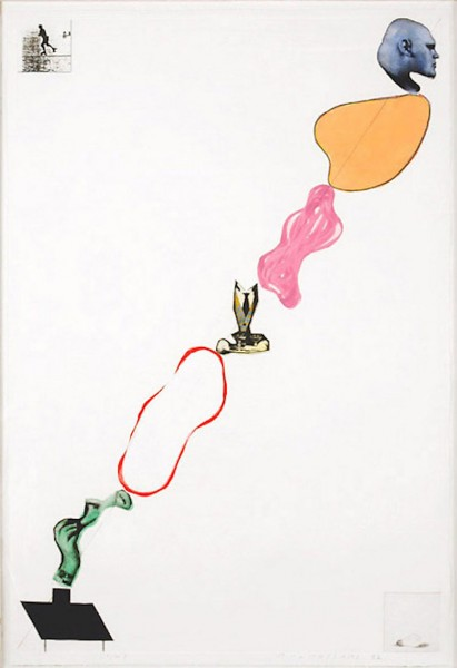 John Baldessari, Domestic Smoke: Desire, Power, Color Intervals and Genie (with Two Boxed Asides), 1992