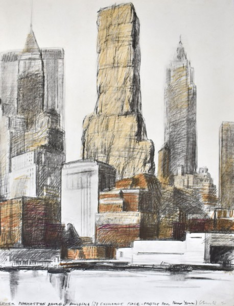 Christo, Lower Manhattan Packed Building, 20 Exchange Place, Project for New York, 1973