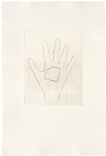 Jonathan Monk, My Left Hand Holding a Square Shaped Piece of Paper with the Top Left Hand Corner Removed / with the Bottom Right Hand Corner Removed / with the Top Right Hand Corner Removed / with the Bottom Left Hand Corner Removed, 2008