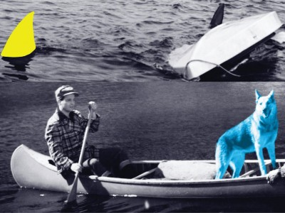 John Baldessari-Man, Dog (Blue), Canoe/Shark Fins (One Yellow), Capsized Boat