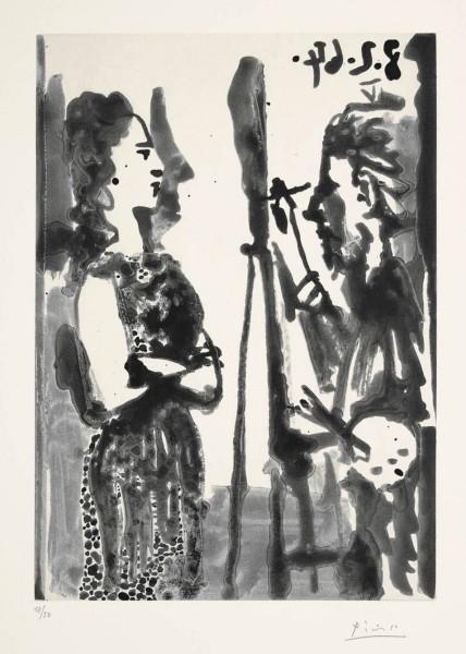Pablo Picasso, Peintre et modèle en robe imprimée, 1964